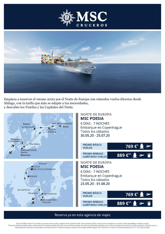 Tu crucero por el norte de Europa con salida desde Málaga